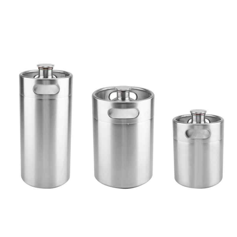 2/3.6/5L Stainless Steel Mini Beer Keg Pressurized Growler for Craft Beer Dispenser System Home Brew Beer Brewing