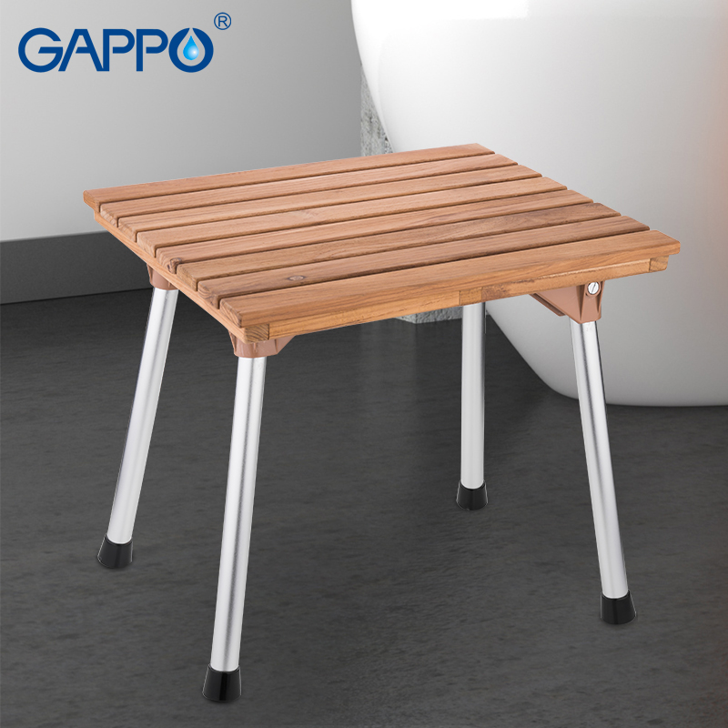 GAPPO shower seats folding shower chair Solid wood seat bench Bathroom Safety Shower Chair Tub Bench Chair plywood