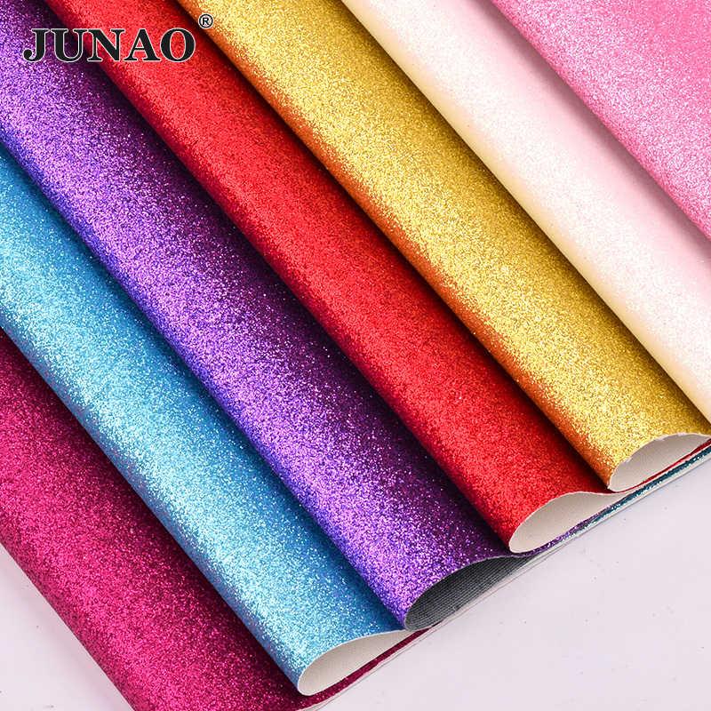 JUNAO 20*34 centímetros Glitter Folhas de Tecido de Couro Tecido de Couro Falso Couro PU de Couro Sintético para Sapatos Roupas DIY artesanato