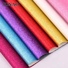 JUNAO 20*34cm Glitter Fabric Leatherette Faux Leather Fabric Sheets PU Leather Synthetic Leather for Clothes Shoes DIY Crafts(China)