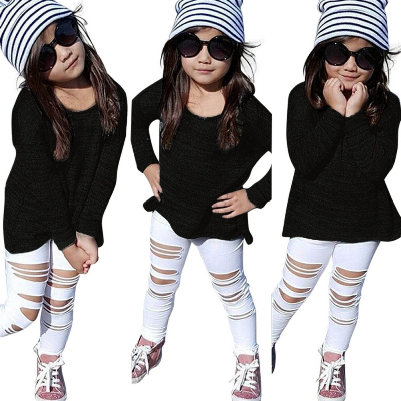 Autumn Kids Children Girls Clothing Sets Long Sleeve T-shirt Tops + Jeans Ripping Denim Trousers 2 pieces Fashion Dresses  S2 kids clothing sets for girls spring print denim tops