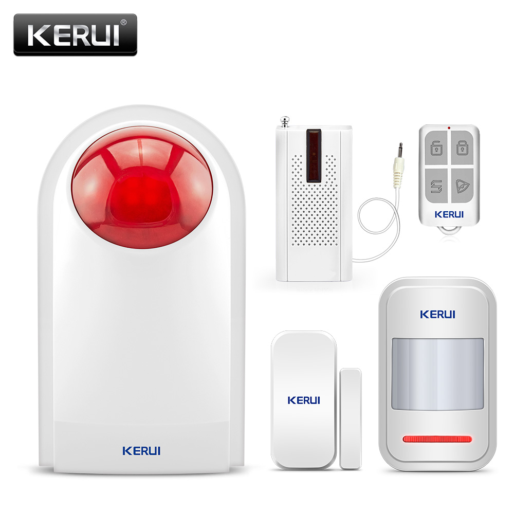 KERUI Waterproof Security Alarm System Indoor Outdoor Wireless 110dB Flash Siren Strobe Light Siren Burglar Sensor Alarm System female jumper f5 281027
