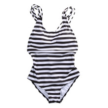 Padded One-Piece Brazilian Striped Swimsuit Plus Size