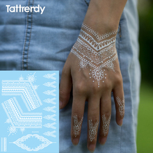 1sheet Trendy Temporary Arabic Tattoo Lace Henna Sticker Choker Fake Tattoos Wedding White Black Flash On Hand S1019