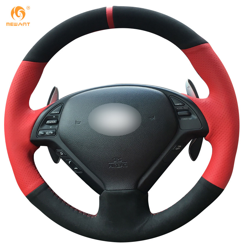 MEWANT Red Leather Black Suede Car Steering Wheel Cover for Infiniti G25 G35 G37 QX50 EX ...