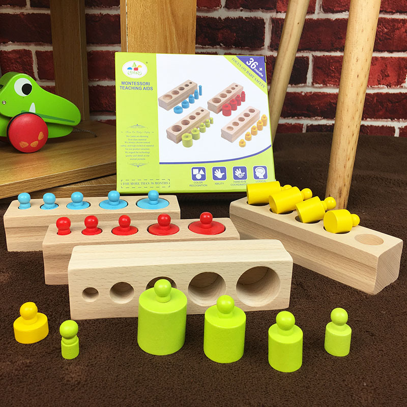 Confident Montessori Educatioanl Wooden Toys For Children Cylinder Colors Shape Matching Teaching Aids Sensory Montessori Materials Toy Waterproof Home Shock-Resistant And Antimagnetic
