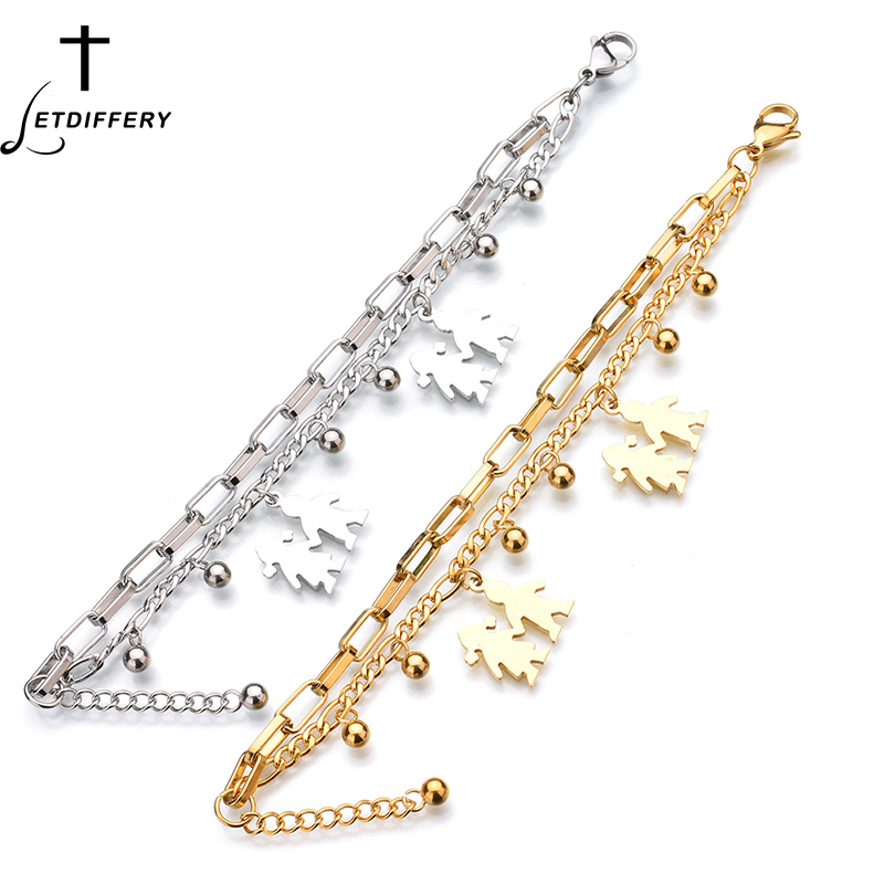 Letdiffery New Fashion Boy and Girl Tag Bracelet Stainless Steel Gold Sliver Chain Bangle For Men Women Gift