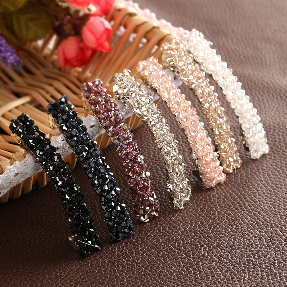 1Pcs Bling Crystal Hairpins Headwear forWomen Girls Rhinestone Hair Clips Pins Barrette Styling Tools Accessories 7 Colors(China)