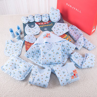 Polar Bear Print Newborn Baby Girl Boy Clothes Set Thick Cotton Cartoon Baby Winter Outfits 19 Pcs/Set