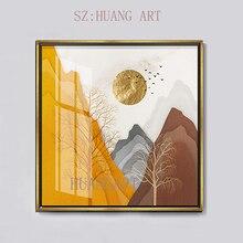 Modern Nordic luxury style bronzing handmade abstract golden sun mountain oil painting art for living room hotel