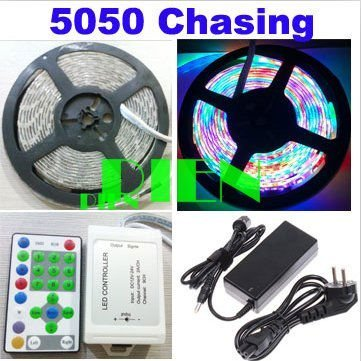 5050 RGB Chasing LED Strip ChristmasHorse Race 270 LED 5m Dream Color light+RF Controller+6A power adapter Free Shipping 1set