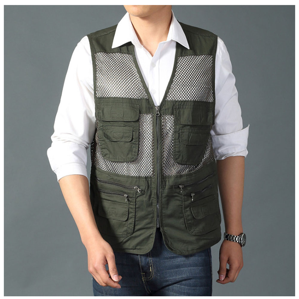 Lightweight Fishing Multi Pockets Vest Denim Waistcoat Travel Hunting Jacket
