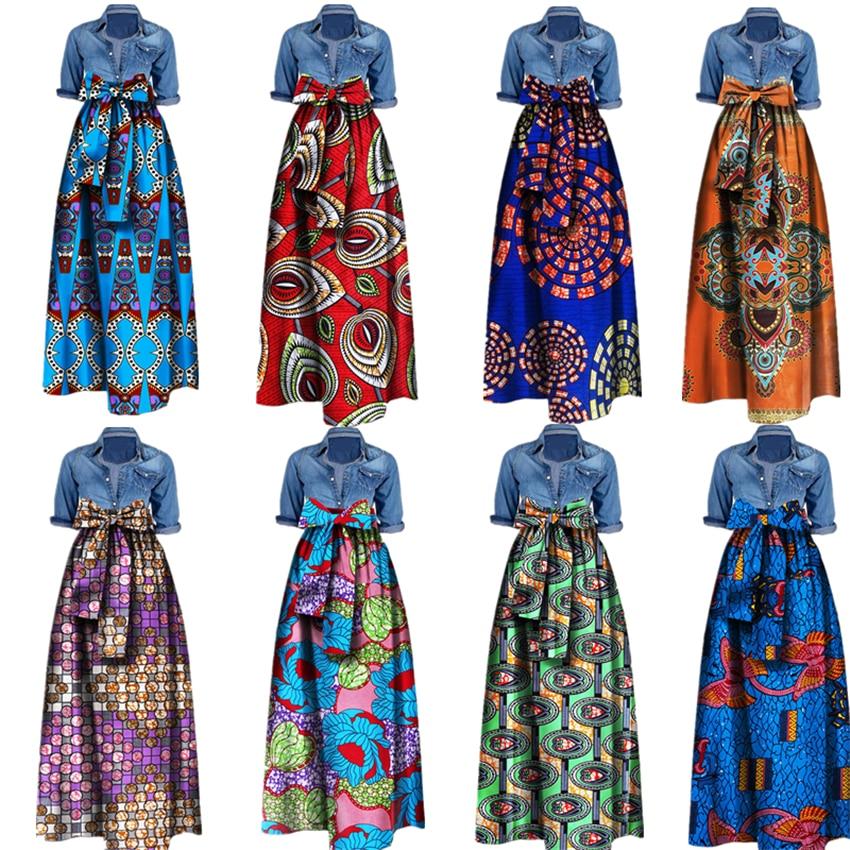 22Color African Fashion Print Skirts For Women Dashiki Lace 100%Cotton Nigerian Ankara Dresses Design Long Skirt M-6XL