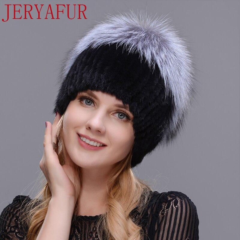 JERYAFUR 2017 nova fêmea pele chapéu gorro de esqui do inverno da mulher proteção de orelha quente cap cabelo mink e raposa artesanal livre entrega