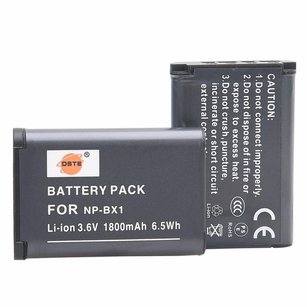 DSTE 2pcs NP-BX1 np-bx1 Battery for Sony DSC-RX100 IV RX10 II HX50 HX300 WX300 WX500 HDR-AS15 CX240E MV1 AS30V Camera