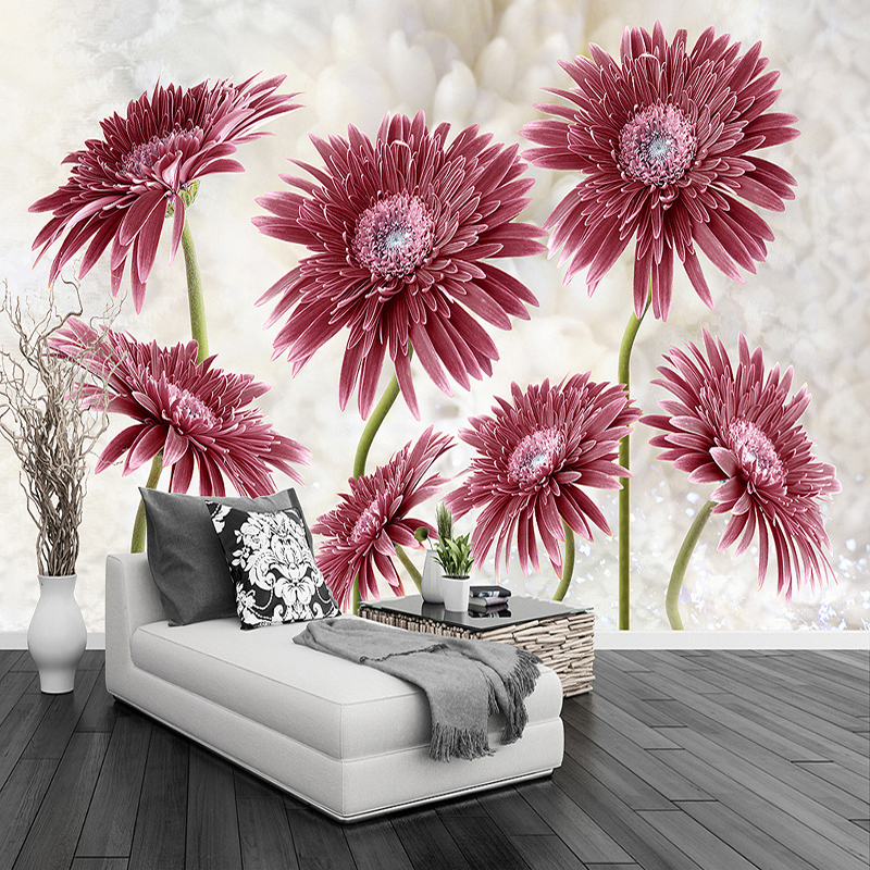 Modern Minimalist Pastoral Flower Art Large Mural Non-woven Wallpaper Living Room Bedroom Restaurant Custom Photo Wall Paper 3D custom photo mural modern minimalist 3d white rose non woven wallpaper for living room sofa background 3d wall murals wallpaper
