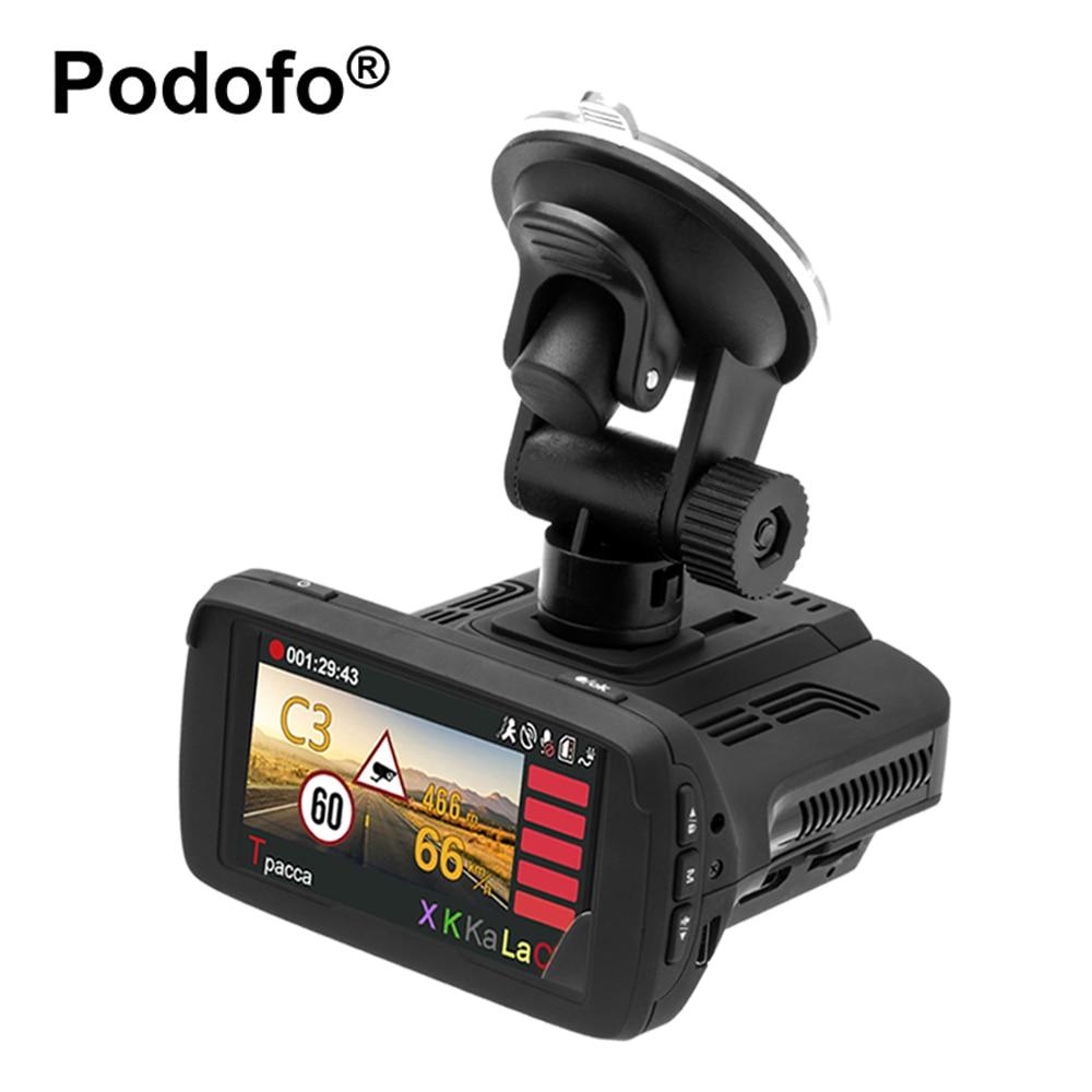 Podofo Ambarella DVR Carro Detector De Radar 3 em 1 com GPS Camera FHD 1080 P Registro Speedcam Anti Detectores de Radar Traço Cam WDR
