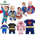 Macacão de bebê Manga Longa Batman Superman Bebê Do Bebê Das Meninas Dos Meninos Vestuário Set Com Capa Do Dia Das Bruxas Trajes Bebe Macacão