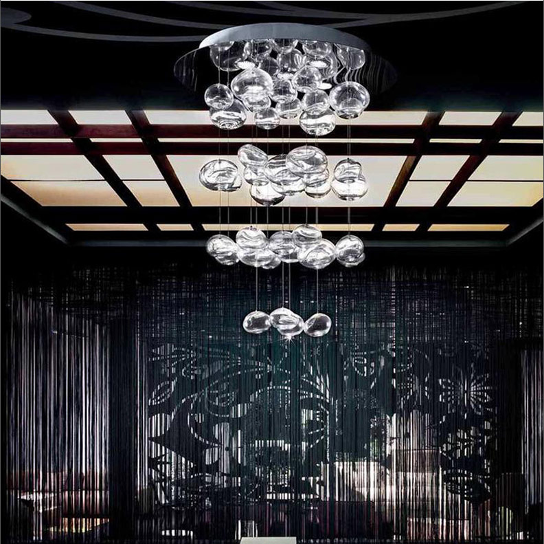 Modern Europe Height 70cm 100cm 150cm Crystal Bubble Glass LED Chandelier Ceiling Lamp Lights Fixtures For Dining Room
