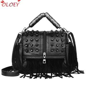 Image 1 - High Quality Womens Genuine Leather Handbags Patchwork Shoulder Bags Female Fashion Tassel Soft Tote Retro Women Crossbody Bag