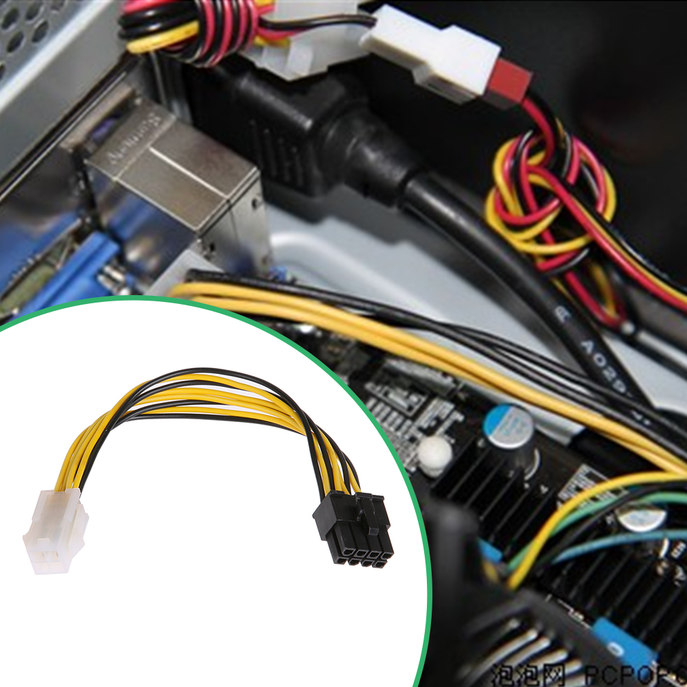 Buy 5pcs 8pin Male To 4pin Female Power Supply Kabel Komputer Cpu Desktop Cable Computer P4 P8 Extension Conversion
