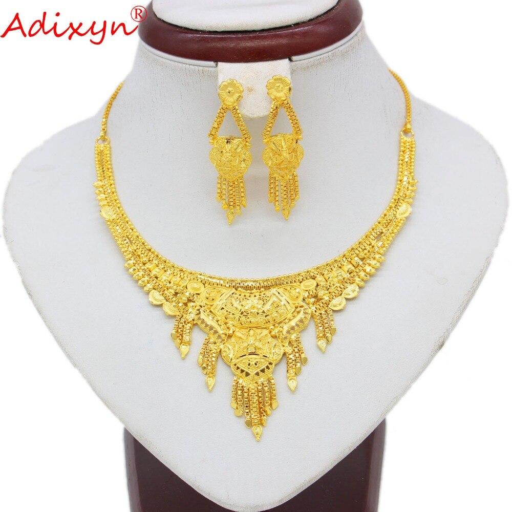 Adixyn Dubai Collana/Orecchini Donne/Ragazze set di Gioielli In Oro di Colore/Rame Africano/Etiope Regali di Fidanzamento N10076-in Parure gioielli da sposa da Gioielli e accessori su  Gruppo 1