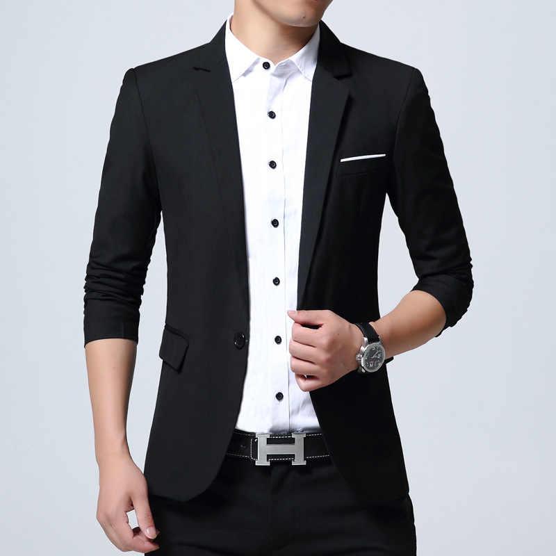 HCXY 2018 slim fit мода блейзер для мужчин хлопок s пальто свадебное платье пиджак Jaqueta мужские спортивные пиджаки костюм Homme