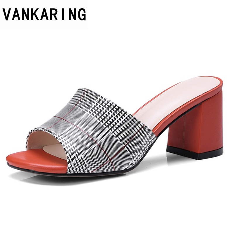 VANKARING women sandals new 2018 fashion leather heels shoes woman dress causal summer shoes black sandals mixed color sandals