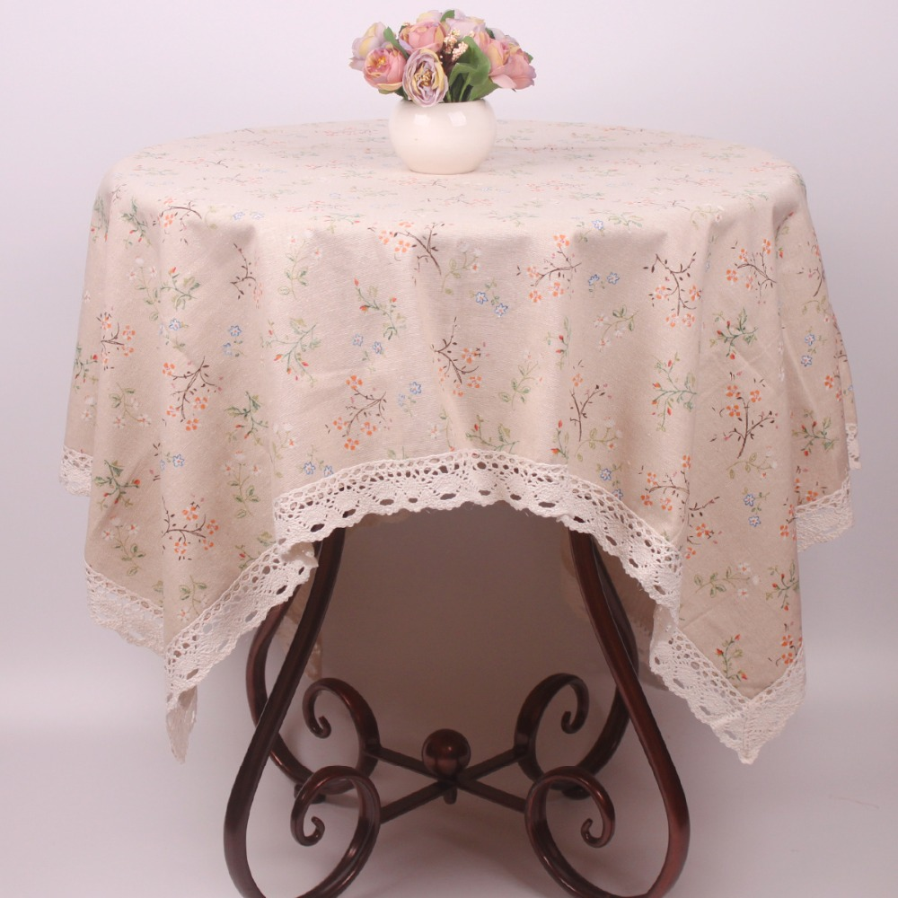 Chic Blue Beige Cotton Linen Plaid Curtains For Boys Bedroom: Japan Style Beige Cotton Linen Flowers Lace Tablecloth For