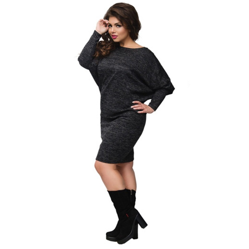 Liva girl Women Sexy Plus Size Back Lace Dress Batwing Sleeve Knitted Bodycon Dress