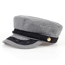 Gorra de béisbol de lana de VORON tapas planas de la Marina cuerda de  encaje gorra de lana de moda antigua Color negro azul gris. a6fd4056779