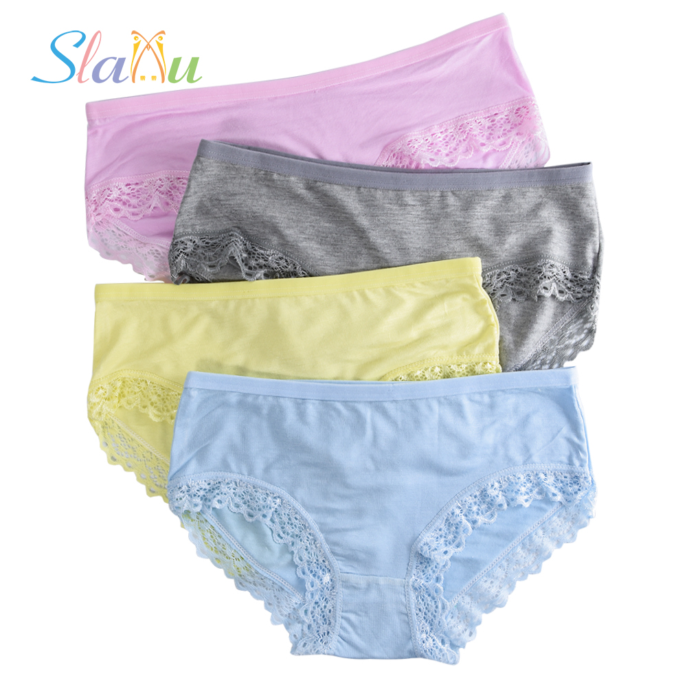 4 Pack Lace Floral Young Teen Girl Briefs For Teenage Candy Colors Girls Short Panties -7513