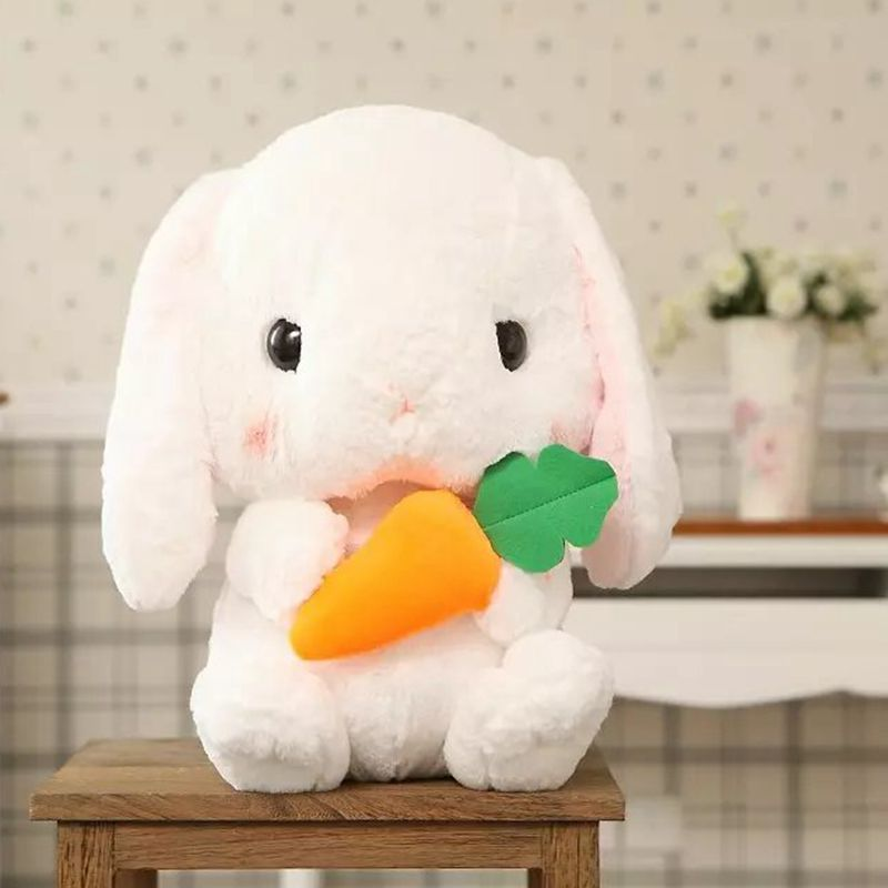 Nooer Cute Soft Lop Rabbit Plush Toy Pink Stuffed Plush Rabbit Doll Graduation Birthday Christmas Girl Kids Children Gift 1pcs 22cm fluffy plush toys white eyebrows cute dog doll sucker pendant super soft dogs plush toy boy girl children gift