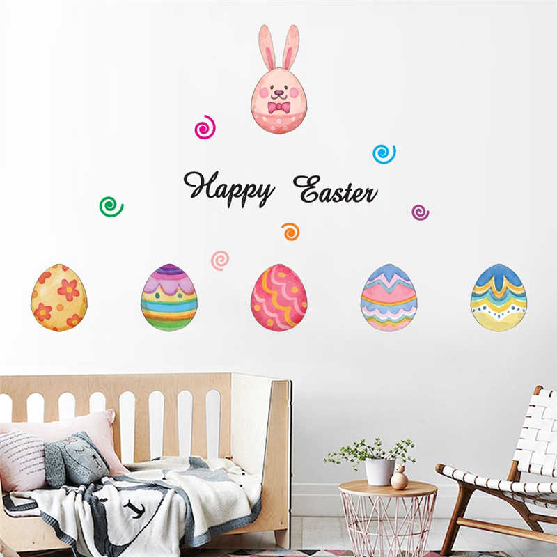 Image 2 - Removable Easter Eggs Wall Stickers  Children House Decoration Lovely kids room decoration Creative sticker mural-in Wall Stickers from Home & Garden