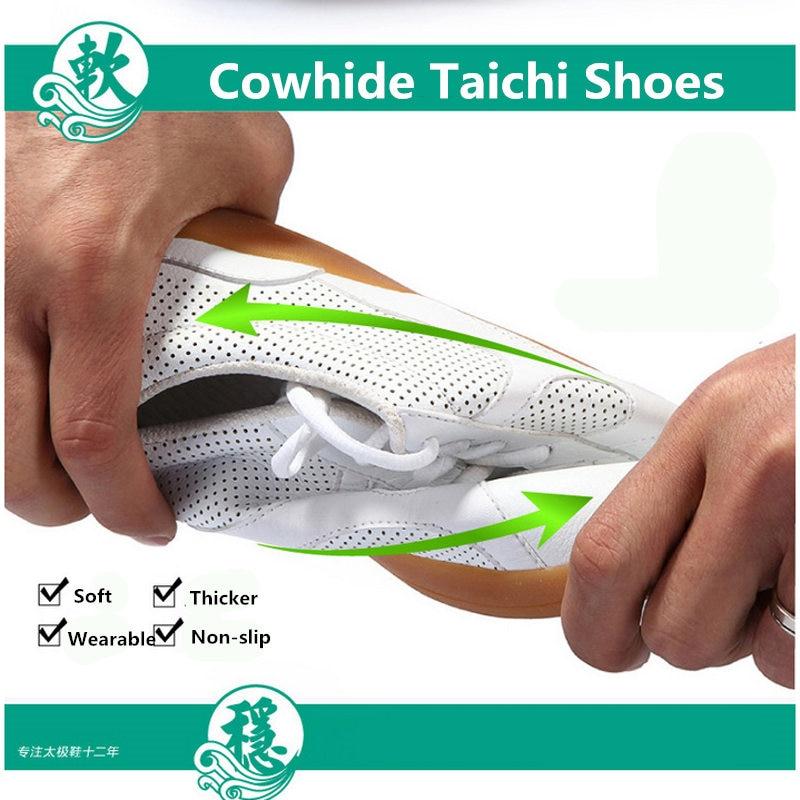 Из натуральной коровьей кожи занятий обувь ушу обувь сухожилия обувь с мягкой подошвой для Для мужчин и горе Для мужчин занятий