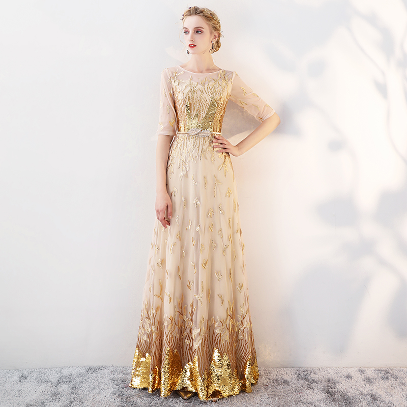 5be83bdb2ece6 Gold Evening Dresses Long 2019 New Elegant O-neck A-line Floor-Length  Sequined Formal Dresses Luxury Evening Gowns For Women