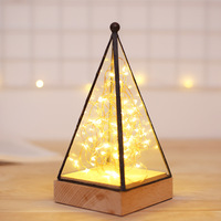 Fire Tree Silver Flower Christmas Light Small house glass night light LED solid wood bedside lamp Triangle tower birthday gift