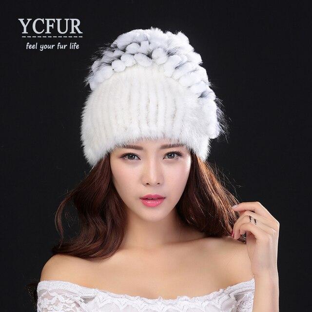 YCFUR Women Winter Hats Fur High Quality Knitted Natural Mink Fur Beanies With Rex Rabbit Fur Trims Caps Mink Fur