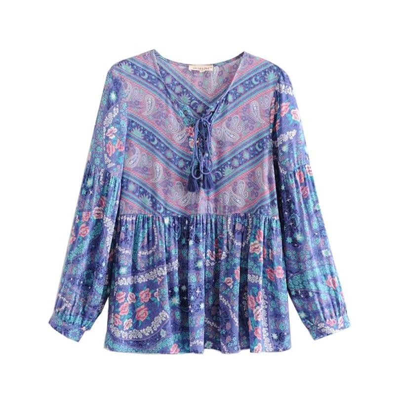Borla Chic De Camisas En Mujer Moda Mujeres As Vintage Cuello Playa Ropa Boho V Blusas Impresión Floral Verano Picture Con Corbata 2019 qUpdg0