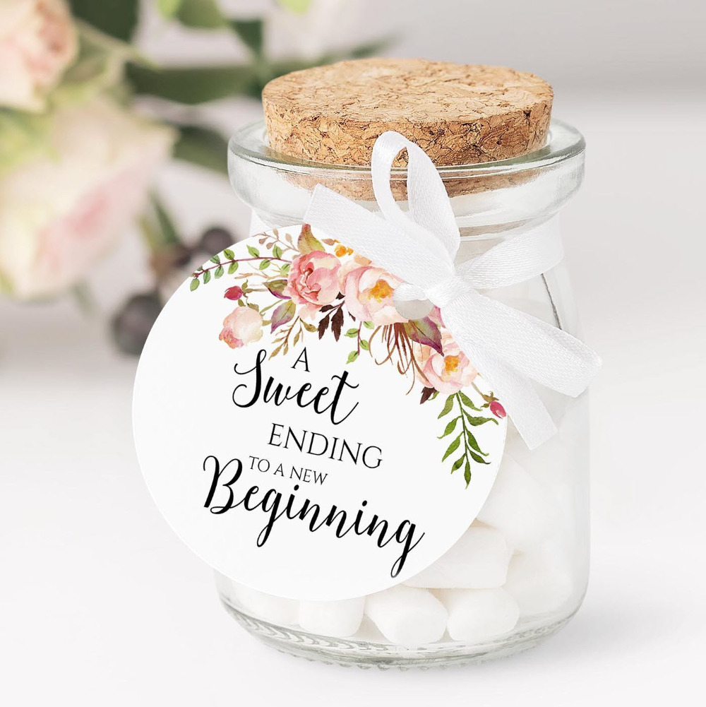 Wedding-Tags Gift-Boxes Favors Rustic Hole-Candy Personalized 100pieces Floral