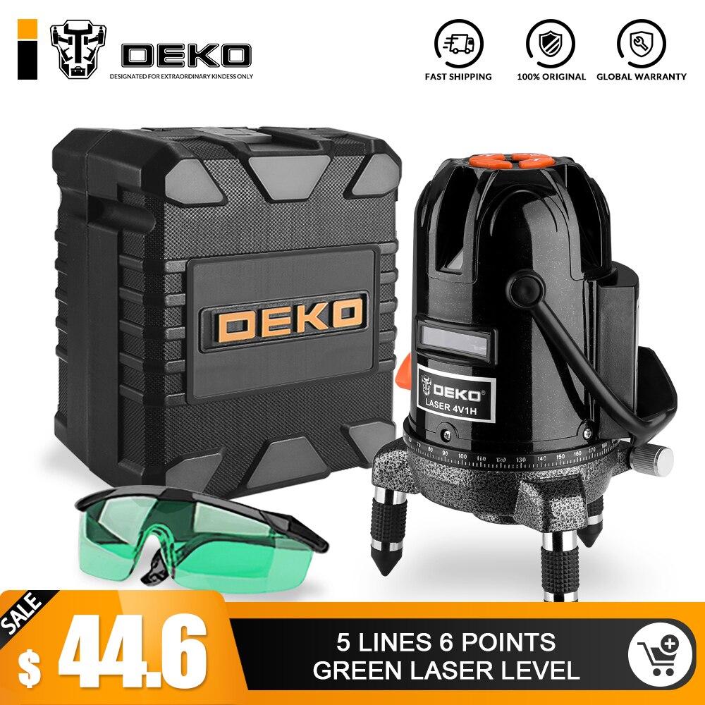 DEKO DKLL501 5 линий 6 очков лазерный уровень зеленые лазерные линии многоцелевой кросс-лайн открытый режим наклона может использоваться с детект...