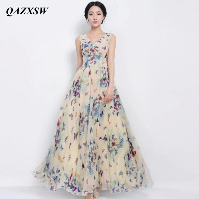 QAZXSW 2018 Spring Summer Plus Size Dresses For Women Chiffon Long Dress  Butterfly Printing Women Party Dresses Vestidos YX0093 a50144135