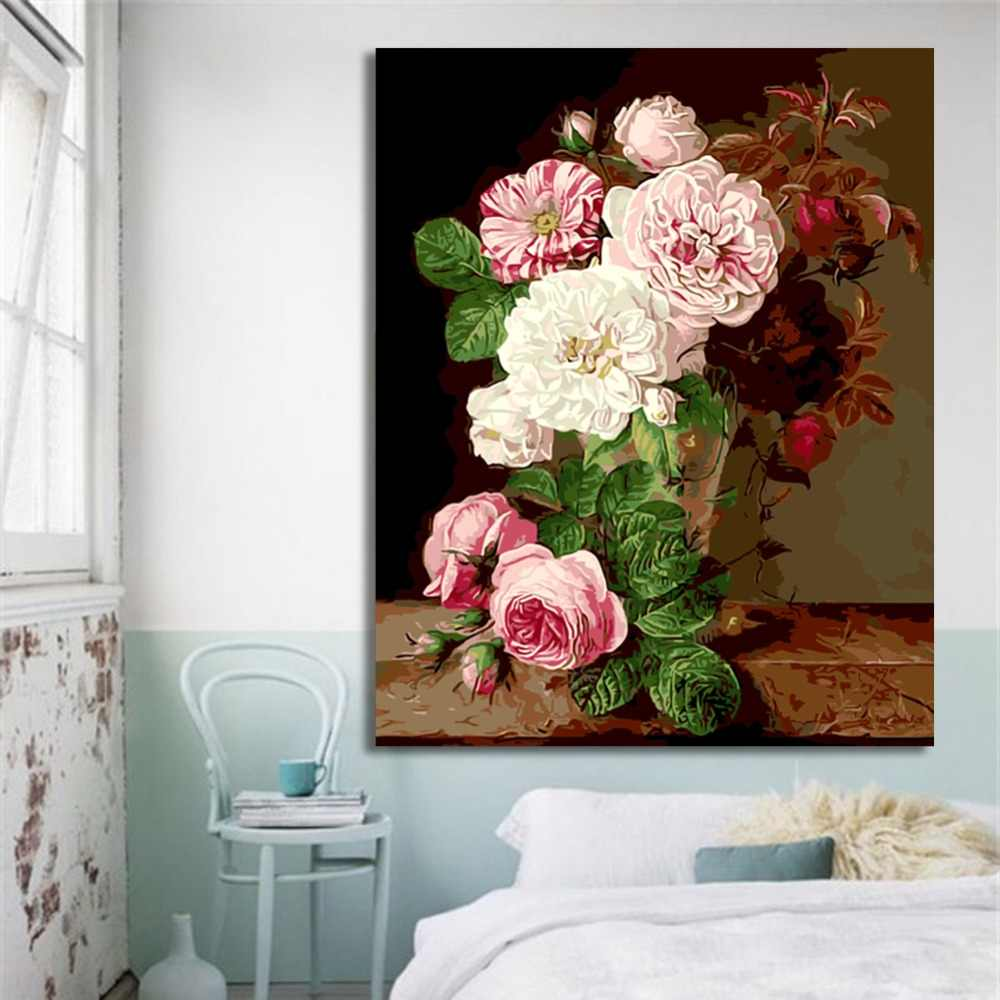 WEENWhite Pink peony-DIY Painting By Numbers kit for kid, Canvas Paint By Numbers, Home Wall Art Picture For Home Decor 40x50cm