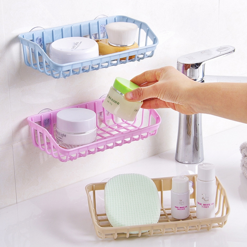 HIFUAR Suction Cup Bathroom Plastic Drain Rack Sink Multifunctional Storage Sponge Holder Shelf