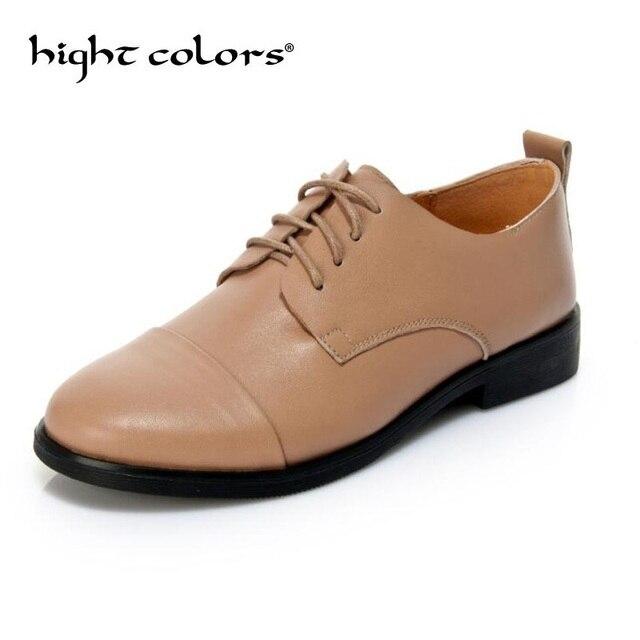 mitad de descuento 0375b e889d Nuevos zapatos planos de mujer Oxfords cuero genuino elegantes tacones  Bajos encaje femeninos casuales