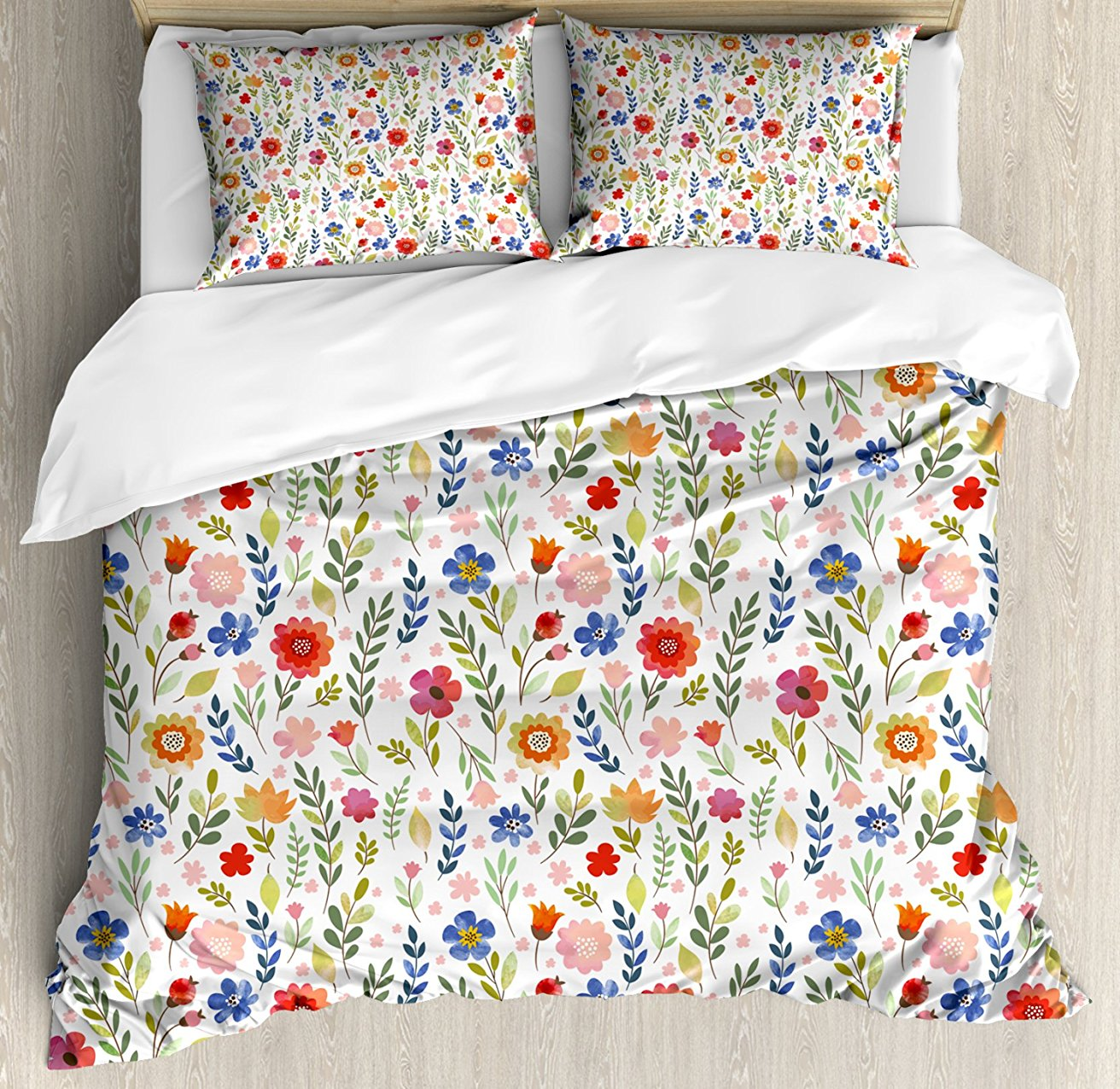 Patterned Duvet Cover Us 116 24 25 Off Watercolor Duvet Cover Set Floral Patterned Illustration With Leaves And Wildflowers Abstract Botanical 4 Piece Bedding Set In