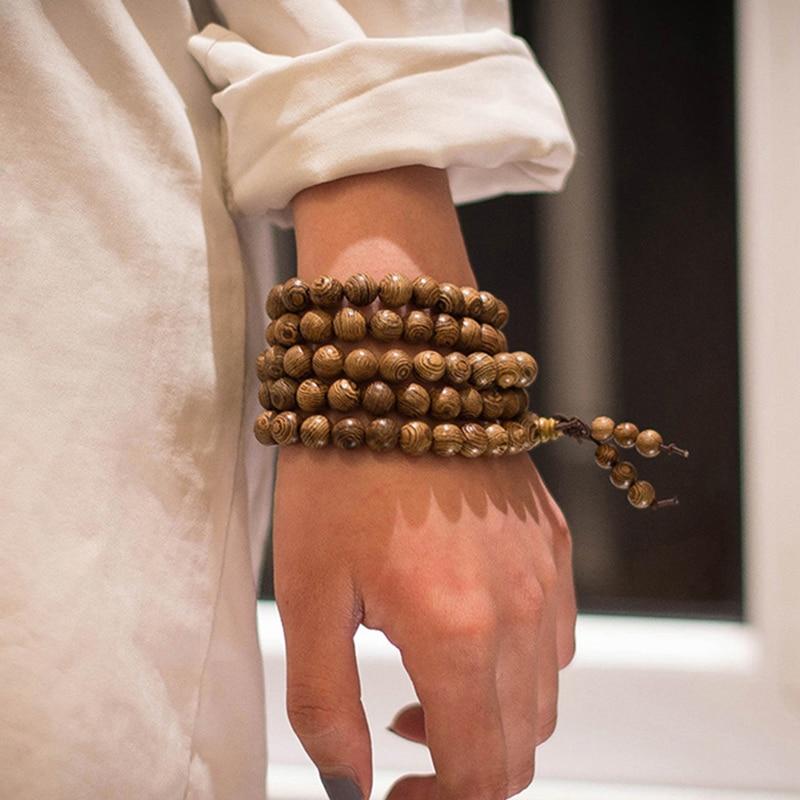 Prayer Beads Bracelet 108 Tibetan Buddhist Rosary Charm Mala Meditation Necklace Yoga lucky Wenge Wooden Bracelet For Women Men 1