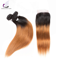 SHENLONG HAIR Ombre Malaysia Straight Hair Bundles With Closure Human Hair Extension 1b 30 Weave 18