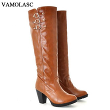 VAMOLASC New Women Autumn Winter Warm Leather Mid Calf Boots Buckles Square High Heel Boots Platform