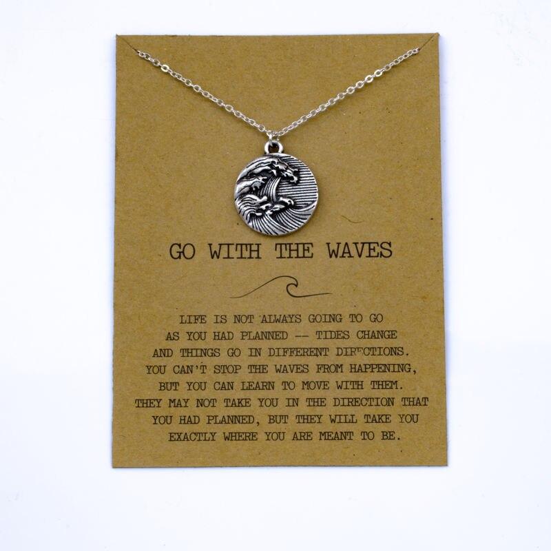 """SanLan 1 шт идут в комплекте ожерелье с подвеской """"волны"""" Океан ювелирные изделия - Окраска металла: 01"""